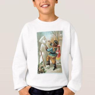 Kinder, die Rohr in den Mund des Schneemanns, Sweatshirt