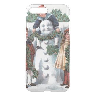 Kinder, die Stechpalmen-Girlanden-Schneemann iPhone 7 Plus Hülle