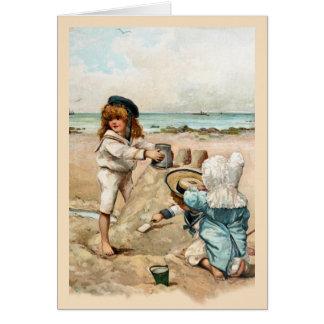 Kinder errichten Vintagen Sandcastle Karte