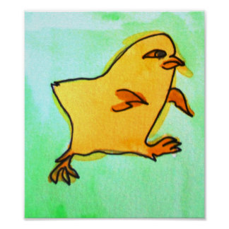 Kinder färben Ostern-KükenVieh-Kunstplakat gelb Poster