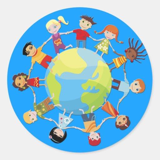 Kinder für Weltfrieden Runder Sticker