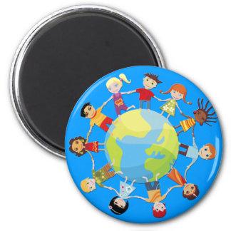 Kinder für Weltfrieden Runder Magnet 5,1 Cm