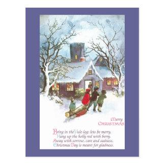 Kinder holen Zuhause-Weihnachten-Klotz Vintages Postkarte