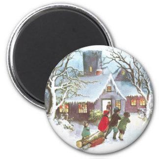Kinder holen Zuhause-Weihnachten-Klotz Vintages Runder Magnet 5,1 Cm