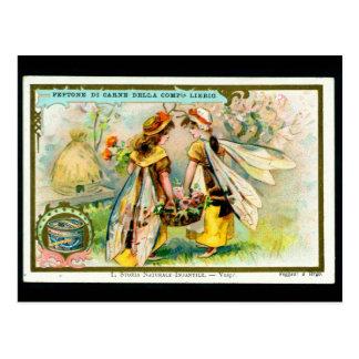 Kinder im Insektenkostüm: Wespepostkarte Postkarte