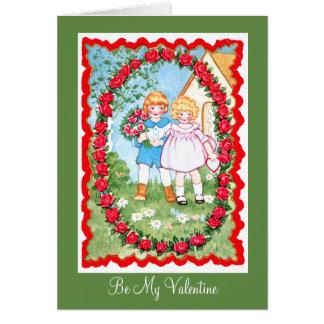 Kinder im Rosen-Rahmen Valenitne Karte