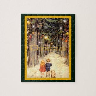 Kinder im Weihnachtsweg Puzzle