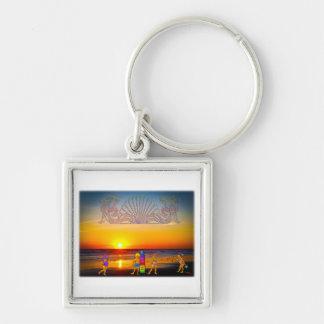 Kinder ordnen die Strand-Sonnenaufgang-Grafik-u. Schlüsselanhänger