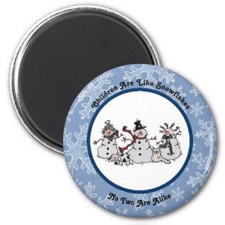 Kinder sind wie Schneeflocke-Magnet Runder Magnet 5,1 Cm