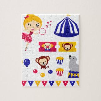 Kinder und ursprüngliches Zeichnen des Zirkuses Puzzle