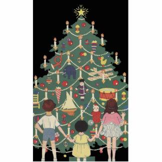 Kinder und Weihnachtsbaum - Vintage Illustration Freistehende Fotoskulptur
