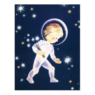 Kinderastronauten-fangende Sterne Postkarten