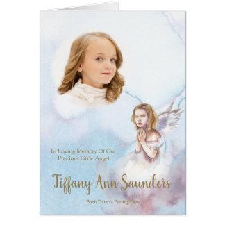 Kinderbegräbnis danken Ihnen   Engel u. Foto 1 Karte