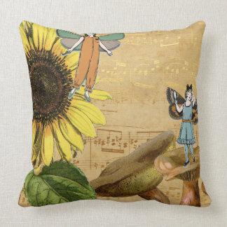 Kinderfeen Sonnenblume und Pilze Kissen