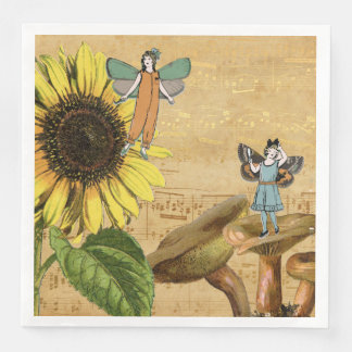 Kinderfeen Sonnenblume und Pilze Servietten
