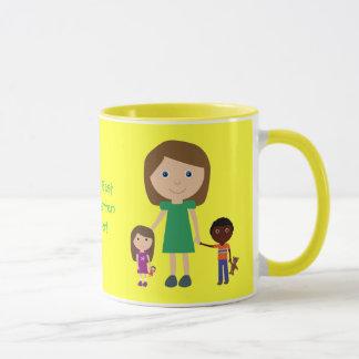 Kindergärtnerin-niedlicher Cartoon der Welt bester Tasse