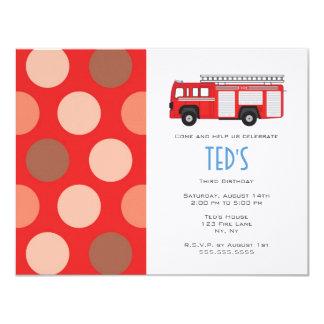 Kindergeburtstag-Einladung - Feuer-LKW 10,8 X 14 Cm Einladungskarte