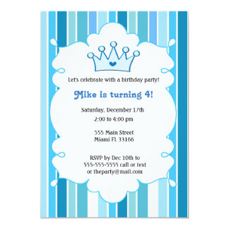 Kindergeburtstag-Einladung Prinz-Blue Karte