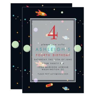 Kindergeburtstag-Party des Weltraum-Thema-  12,7 X 17,8 Cm Einladungskarte