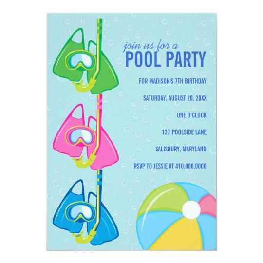 Kindergeburtstag-Pool-Party Einladungen   Zazzle