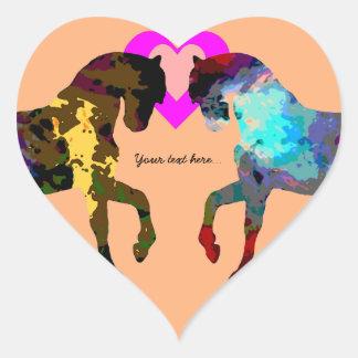 Kinderherzen und -pferd auf Orange Herz-Aufkleber