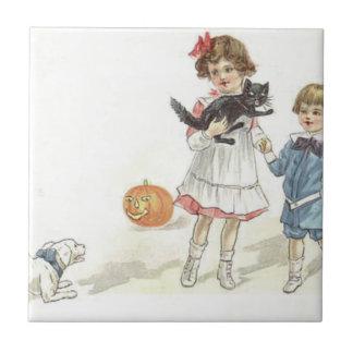 KinderJack O Laternen-schwarze Katzen-Hund Keramikfliese