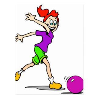 Kindermädchen-Bowling Postkarte