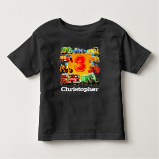 KinderName-Bau-LKW-3. Geburtstag Kleinkind T-shirt