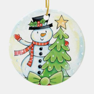 Kinderniedliche Snowman-Verzierung Keramik Ornament