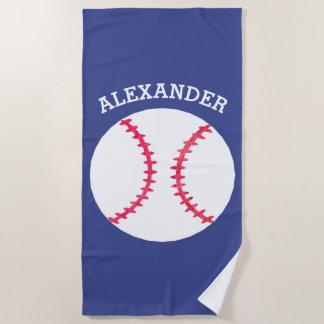 Kinderpersonalisierter Baseball trägt Blau zur Strandtuch