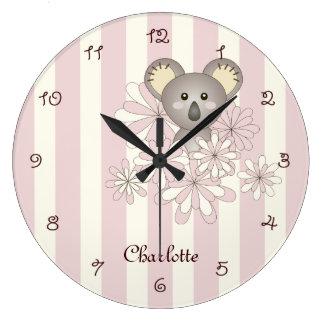 Kinderraum-Namen-Rosa des Uhr