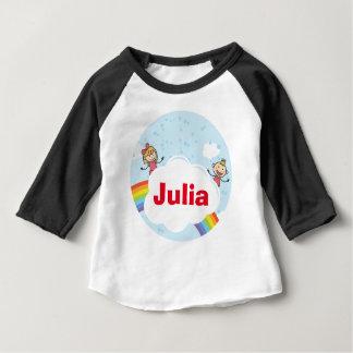 Kinderregenbogen-Wolken-rotes gelbes lila Blau Baby T-shirt