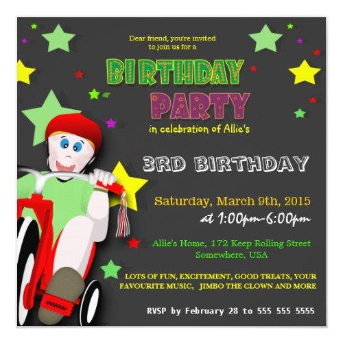 ... Kinderreitdreiradgeburtstags Party Einladung ...