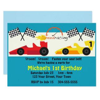 Kinderrennen-Auto-Geburtstags-Party Karte