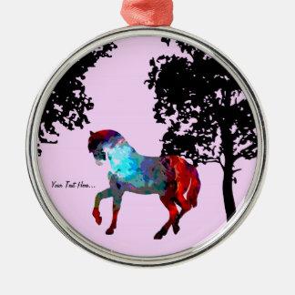 Kinderrosa Pferd Rundes Silberfarbenes Ornament