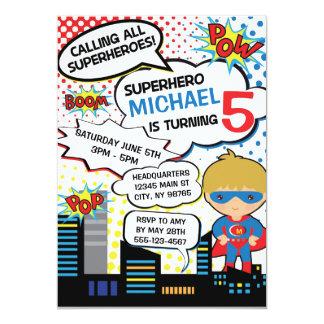 Kindersuperhero-Geburtstags-Party 12,7 X 17,8 Cm Einladungskarte