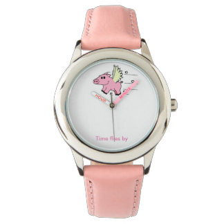 Kinderuhr Flying Pig Rosa Uhr