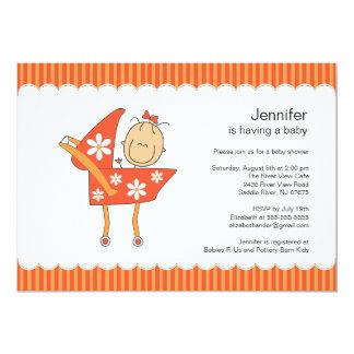 Kinderwagen-Baby-Duschen-Einladungs-Strichmännchen 12,7 X 17,8 Cm Einladungskarte