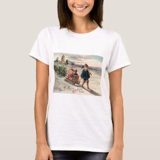 Kinderweihnachtsbaum-Schlitten-Pferdeschlitten T-Shirt