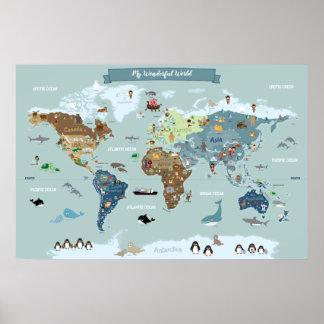 Kinderweltkarte mit niedlichen Illustrationen Poster