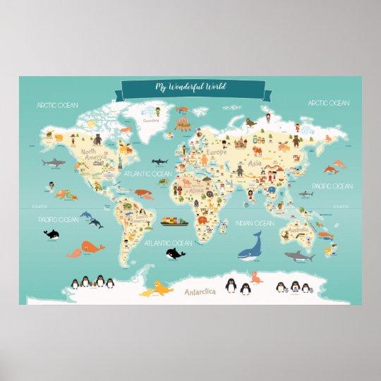 Poehxtyy Kinder Padagogisches Tier Sehenswurdigkeiten Weltkarte Wandtattoos Aufkleber Wohnkultur Kunst Dekoration Fur Kindergarten Aufkleber Spielzeug