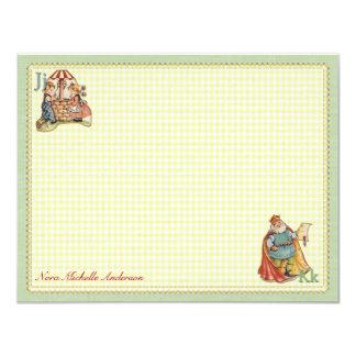 Kinderzimmer-Reim-personalisierte flache 10,8 X 14 Cm Einladungskarte