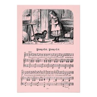 Kinderzimmer-Reimpussy-Katzepussy-Katzen-Postkarte Einladungskarten