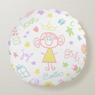 Kinderzimmerthrow-Kissen für Baby-Mädchen, Pastell Rundes Kissen