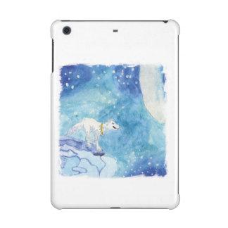 Kindische Aquarellmalerei mit schneebedecktem Wolf