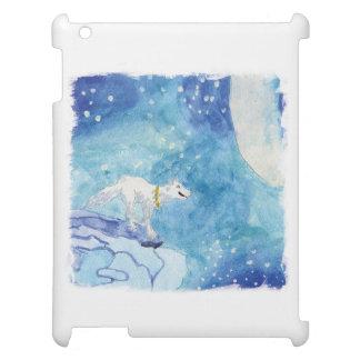 Kindische Aquarellmalerei mit schneebedecktem Wolf iPad Hülle