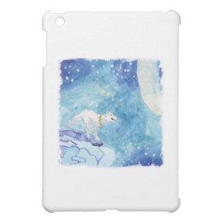 Kindische Aquarellmalerei mit schneebedecktem Wolf iPad Mini Cover