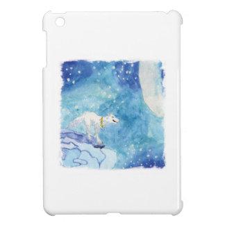 Kindische Aquarellmalerei mit schneebedecktem Wolf iPad Mini Hülle