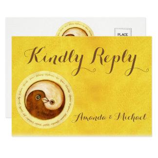 KINDLY ANTWORT-HOCHZEITS-KARTE GoldYinYang Tauben Karte