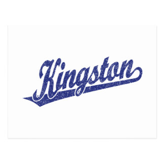 Kingston-Skriptlogo in beunruhigtem Blau Postkarte